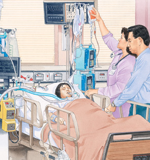 Child in hospital bed with breathing tube in mouth and IV tubes connected to arm. Man is standing next to bed. Healthcare provider is hanging bag of blood on IV pole.