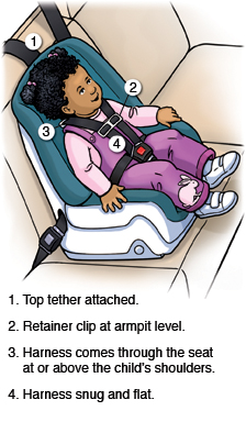For a child in a forward-facing car seat, but sure the top tether is attached, the retainer clip is at armpit level, the harness comes through the seat at or above the child's shoulders, and the harness is snug and flat.