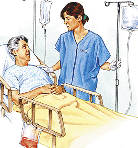 Man lying in hospital bed with two IV poles next to bed. Healthcare provider is talking to man. Bag of fluid is attached to side of bed.