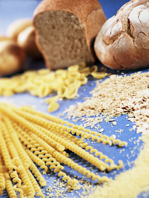Bread, pasta, and grains.
