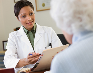 Doctor talking with a senior patient.