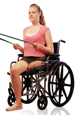 Woman with amputated leg sitting in wheelchair exercising stretching exercise bands with both hands.