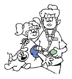 Drawing of a health professional taking small child's blood pressure