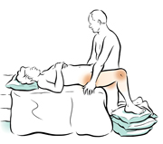 Woman-lying-and-man-standing sex position.