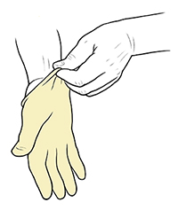 Hand pulling surgical glove on opposite hand.