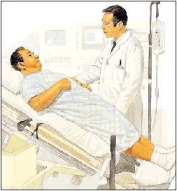 Man wearing hospital gown lying on back on exam table. Table is tilted so man's head is higher than feet. Healthcare provider is standing next to table.