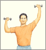 Man holding hand weights out to sides with elbows bent at shoulder level. One arm is extended up.