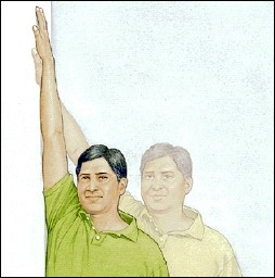 Man standing with arm raised and hand touching wall. Ghosting shows man with arm raised and standing closer to wall, hand higher on wall.