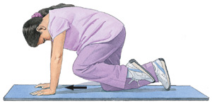 Image of woman on hands and knees, facing downward, in position for leg lifts.