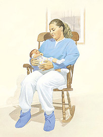 Woman sitting in rocking chair with crying baby.