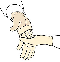 Now, slip the fingers of your gloved hand into the folded cuff of the other glove.