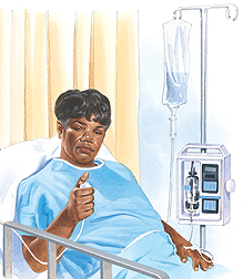 Woman lying in hospital bed with IV in arm. She is pushing button on cord attached to IV machine.